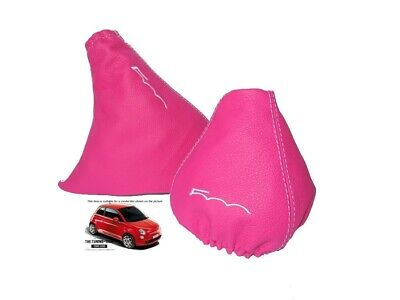 Gear & Handbrake Gaiter For Fiat 500 Pink Leather Embroidery