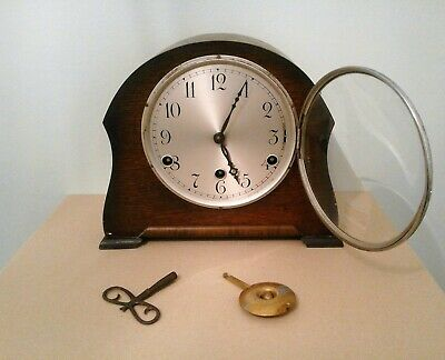 Art Deco Westminster Chimes Perivale Mantel Clock with Key and Pendulum