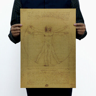 Home Decor Kraft Paper Vitruvian Man Antique Poster Leonardo Da Vinci Mona Lisa