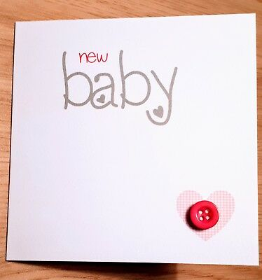 New baby girl handmade card printed gingham heart and cute pink button 10x10cm