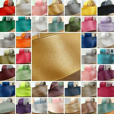 "Wired Double Sided Satin Ribbon 25mm / 1"" BEAUTIFUL 35 COLOURS Wire Edge Per 1M"