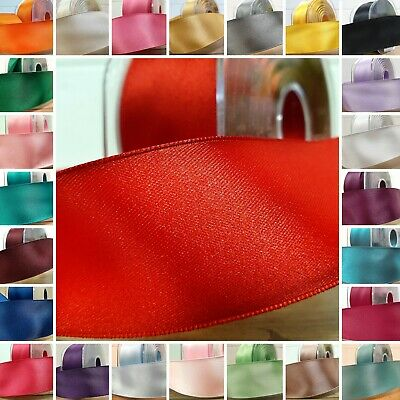WIRED EDGE 38mm Wide DOUBLE SIDED SATIN RIBBON Solid Plain Bow Cut Per 1M Length