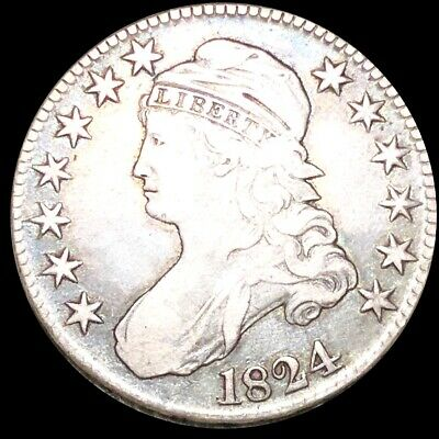 1824 Capped Bust Half Dollar CLOSELY UNCIRCULATED Philly High End 50c Silver NR!