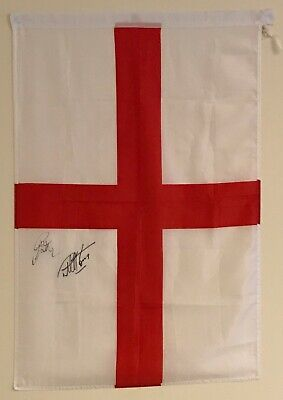 Hand Signed FLAG by GARETH SOUTHGATE & HURST ENGLAND Manager World Cup + my COA