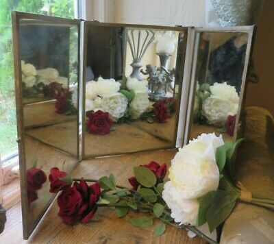 BEAUTIFUL 19th.CENTURY FRENCH BRASS FRAMED TRI FOLD MIRROR ~ ORIENTAL DEPICTION