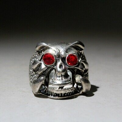 Collectable China Miao Silver Skull Head Beautiful Auspicious Interesting Ring