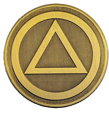 """AA Circle//Triangle Small Black and Gold Enameled Lapel Pin 3//8/"""""""