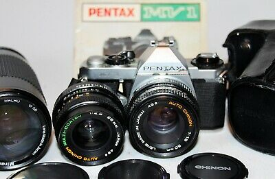 PENTAX MV-1 35mm SLR Camera AUTO CHINON 50mm f1.9 & 28mm f2.8 Lens + 75-300 zoom