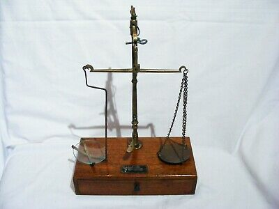Antique English Traveling Apothecary Scales In Mahogany & Brass with weights