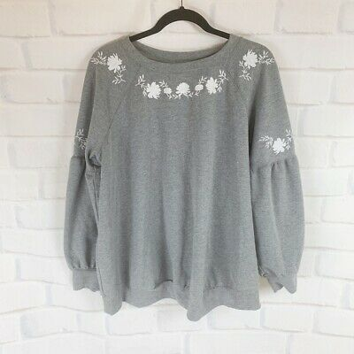 Isabel Maternity Gray Floral Bell Sleeve Sweater Women's Maternity Size Large