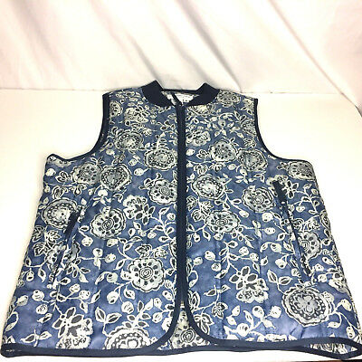 Coldwater Creek Womens Puffy Vest Quilted Blue Floral Size Small Nylon