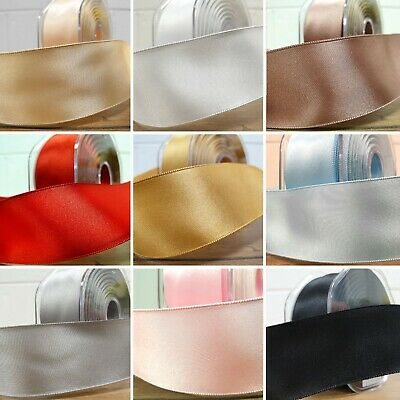 50mm Wide Wired Double Sided Satin Ribbon Wire Edge Solid Plain Cut Per 1 Metre