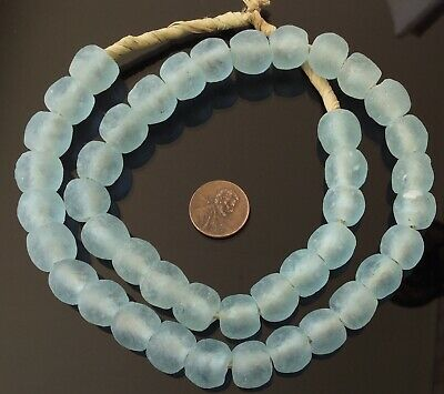 Round LT Blue minty handmade Recycled glass African trade beads-Ghana