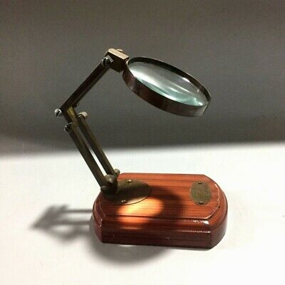 Collectable China Old Wood Hand-Carved Rare Royal Magnifying Glass Unique Statue