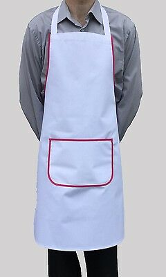 Brand New White Bib Apron Pink Work Chef Cook Restaurant Cafe Shop Butchers