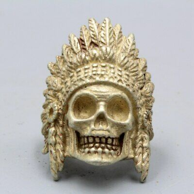 Collectable China Handwork Old Miao Silver Carve Skeleton Head Unique Lucky Ring