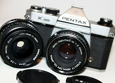 ASAHI PENTAX K1000 35mm SLR Camera SMC PENTAX-M 50mm f2 lens + 28mm f2.8 WORKING