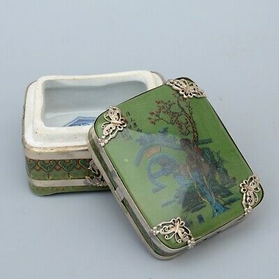 AAA Collectable China Old Miao Silver Porcelain Carve Ancient Beauty Jewelry Box