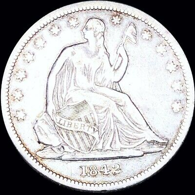 1842 Seated Half Dollar CLOSELY UNCIRCULATED Philadelphia 50c Liberty Silver NR!