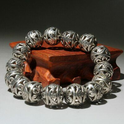 Collectable Old Miao Silver Hand-Carve Hollow Out Flower Beautiful Hand Catenary