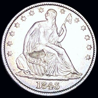 1843 Seated Half Dollar APPEARS UNCIRCULATED Philly ms bu 50c Liberty Silver NR!