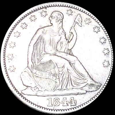 1844 Seated Half Dollar CLOSELY UNCIRCULATED Philadelphia 50c Liberty Silver NR!