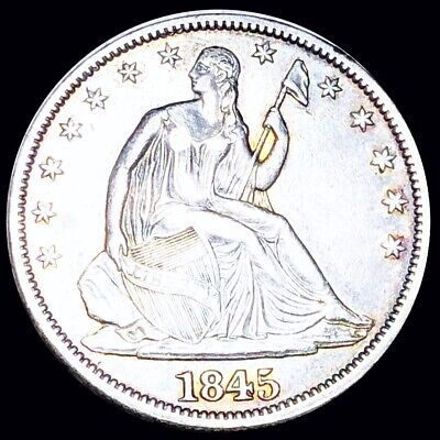 1845 Seated Half Dollar CLOSELY UNCIRCULATED Philly Shiny 50c Liberty Silver NR!