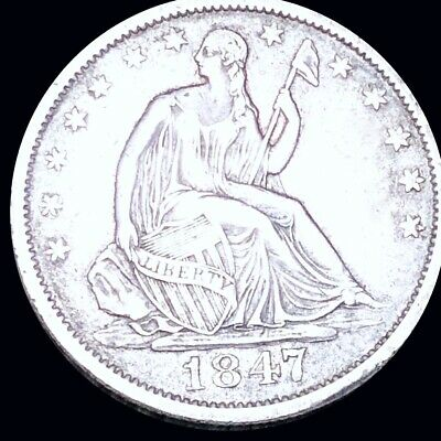 1847-O Seated Half Dollar CLOSELY UNCIRCULATED New Orleans 50c Liberty Silver NR