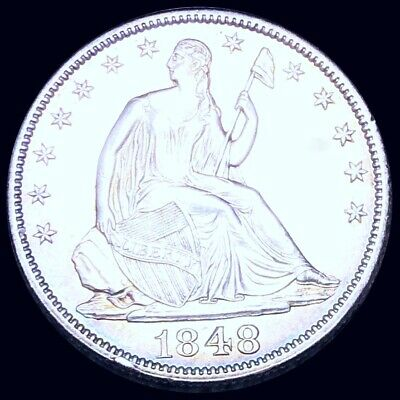 1848 Seated Half Dollar HIGHLY UNCIRCULATED Philly ms bu 50c Liberty Silver NR!