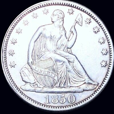 1850 Seated Half Dollar APPEARS UNCIRCULATED Philly ms bu 50c Liberty Silver NR!