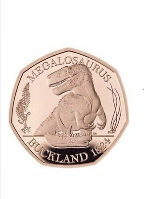 2020 Dinosaur Megalosaurus 50p Solid Gold Proof Limited To only 350 Coins