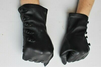 Mulberry Gloves Black Butter Soft Leather Button Detail Silk Lined Sz Medium