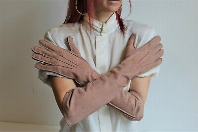 PRADA Gloves Pink Stamped Leather Elbow Length Silk Lined Size 7.5 Opera Quirky