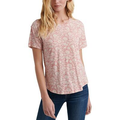 Lucky Brand Womens Red Cotton Floral Print Pullover Top Blouse XS BHFO 3676