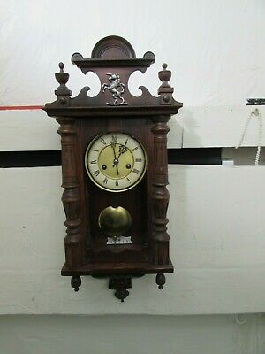 Antique HAC Wall Clock, Movement Fully Stripped & Cleaned, Mainsprings Replaced