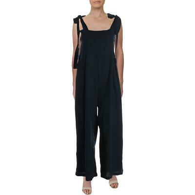 Endless Rose Womens Navy Wide Leg Overall Tie Shoulder Jumpsuit L BHFO 6663