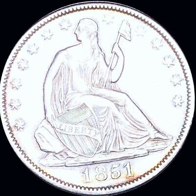 1851 Seated Half Dollar APPEARS UNCIRCULATED Philly ms bu 50c Liberty Silver NR!