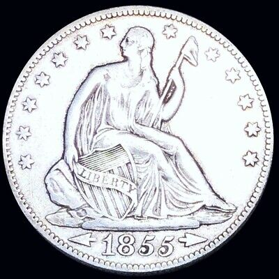 1855 Seated Half Dollar CLOSELY UNCIRCULATED Philadelphia 50c Liberty Silver NR!