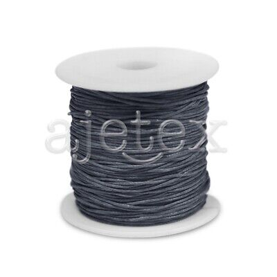 1 Roll 70M Waxed Cotton Cord Jewellery Craft Beading Thread Thong 1x1mm Gray