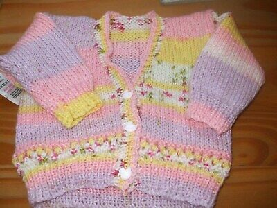 Brand New Hand Knitted Baby Girls  Cardigan  Size 0 - 3 Months