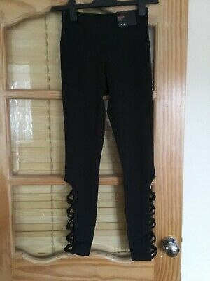 Brand New With Tags Women's Lace up Leg Black Sport Tights Size XS
