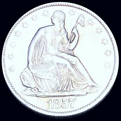 1857 Seated Half Dollar CLOSELY UNCIRCULATED Philadelphia 50c Liberty Silver NR!