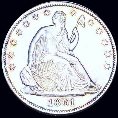 1861 Seated Half Dollar APPEARS UNCIRCULATED Philly ms Colorful Liberty Silver!