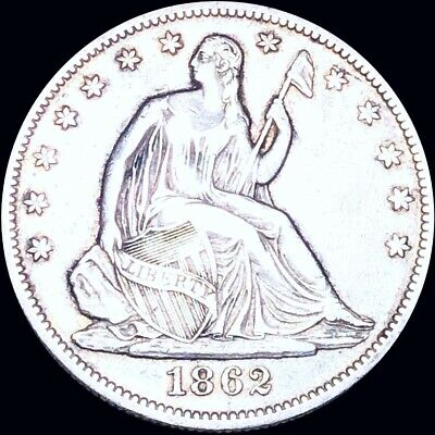 1862 Seated Half Dollar CLOSELY UNCIRCULATED Philly 50c Liberty Silver Coin NR!