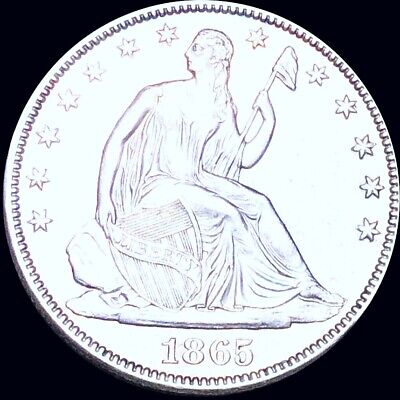 1865 Seated Half Dollar APPEARS UNCIRCULATED Philly ms bu 50c Liberty Silver NR!