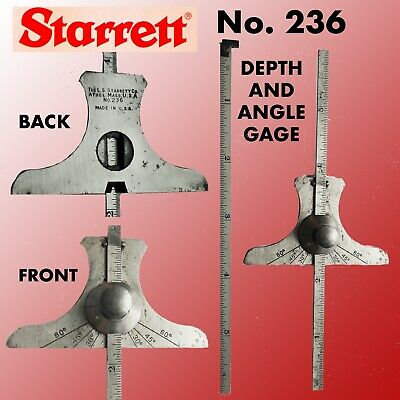 "Starrett # 236 Depth&Angle Gage With 2 6"" Narrow Rule Blades One Is A Hook Rule"
