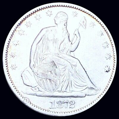 1872-S Seated Half Dollar CLOSELY UNCIRCULATED San Francisco 50c Liberty Silver!