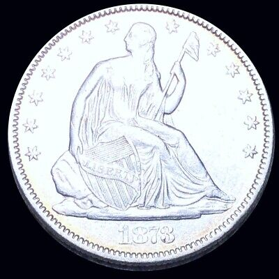 1873 Seated Half Dollar HIGHLY UNCIRCULATED Philly ms bu 50c Liberty Silver NR!