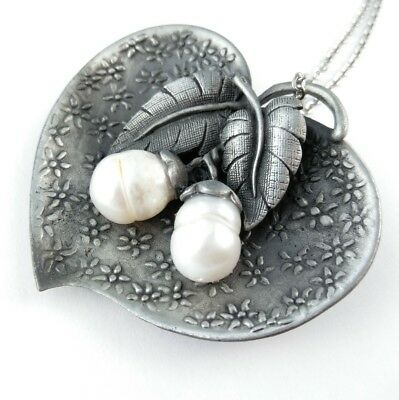 Pendant with chain or brooch pin Big silver leaf freshwater pearls