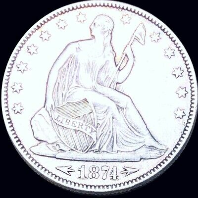 1874 Seated Half Dollar CLOSELY UNCIRCULATED Philadelphia 50c Liberty Silver NR!